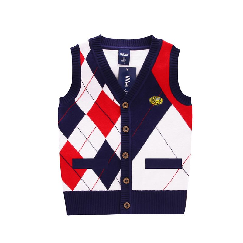 Little Big School Boys Rhombus Crochet Sleeveless Cardigan Kids Knit Vest Coat