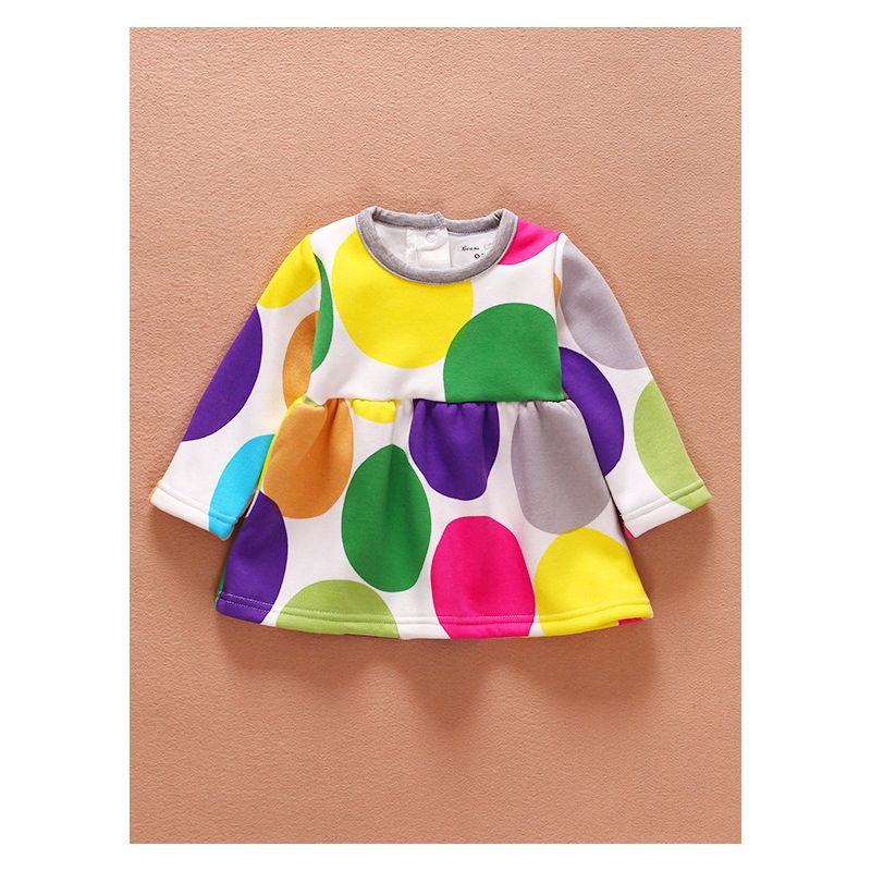 Big Polka Dots/Flower Fleece-lined Baby Girl Winter Dress