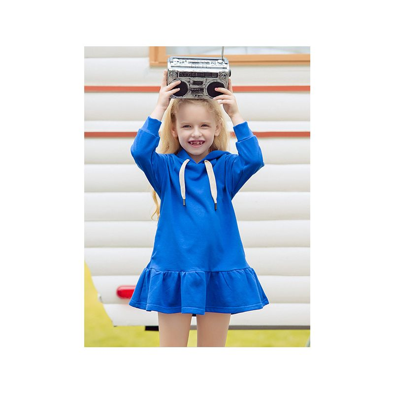 Toddler Big Girl Solid Color Hoodie Ruffled Dress Kids Sports Shift Dress Blue/Pink