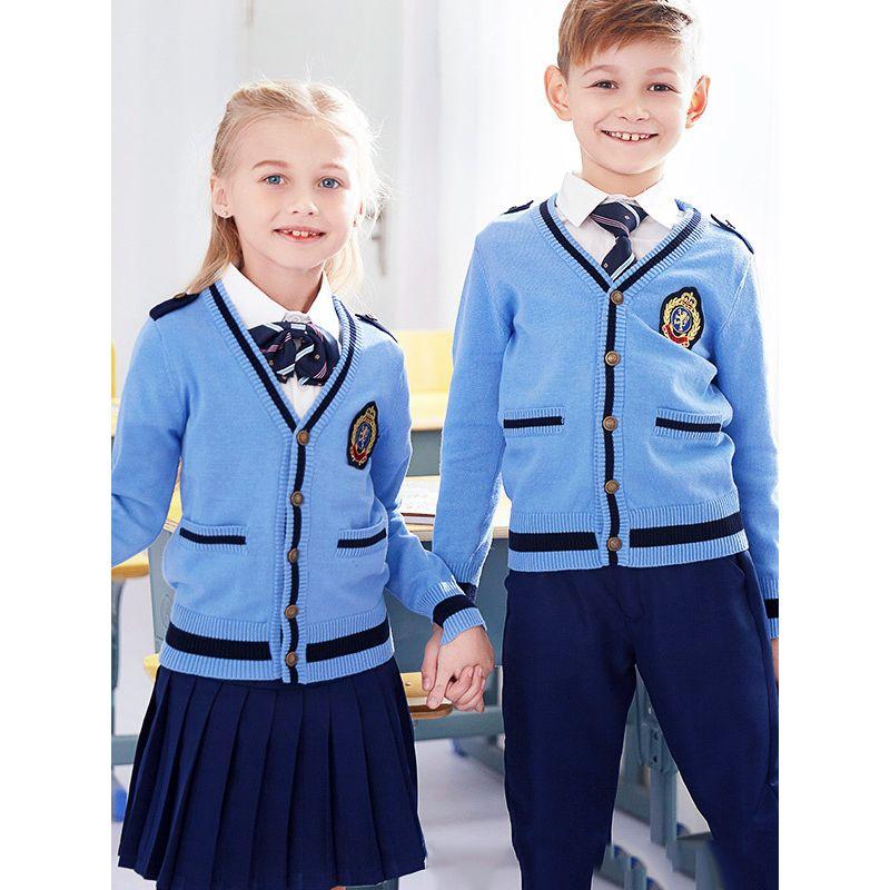 3-piece British Style Kindergarten/Primary School/Junior High School Boys Girls Winter Autumn School Uniform Set