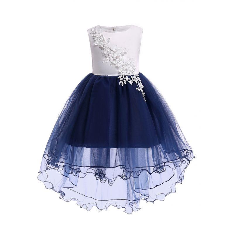 Sleeveless Flower Trimmed Little Big Girl Princess Bodice Dress