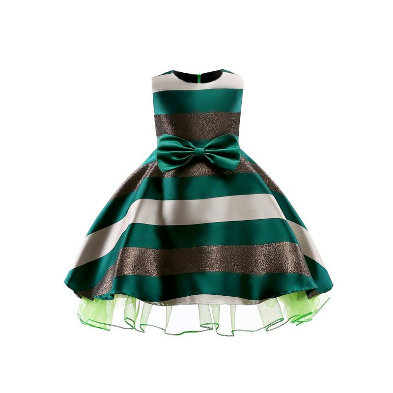 Big Bow Sleeveless Color-blocking Toddler Big Girl Princess Bodice Dress Kids Party Dress
