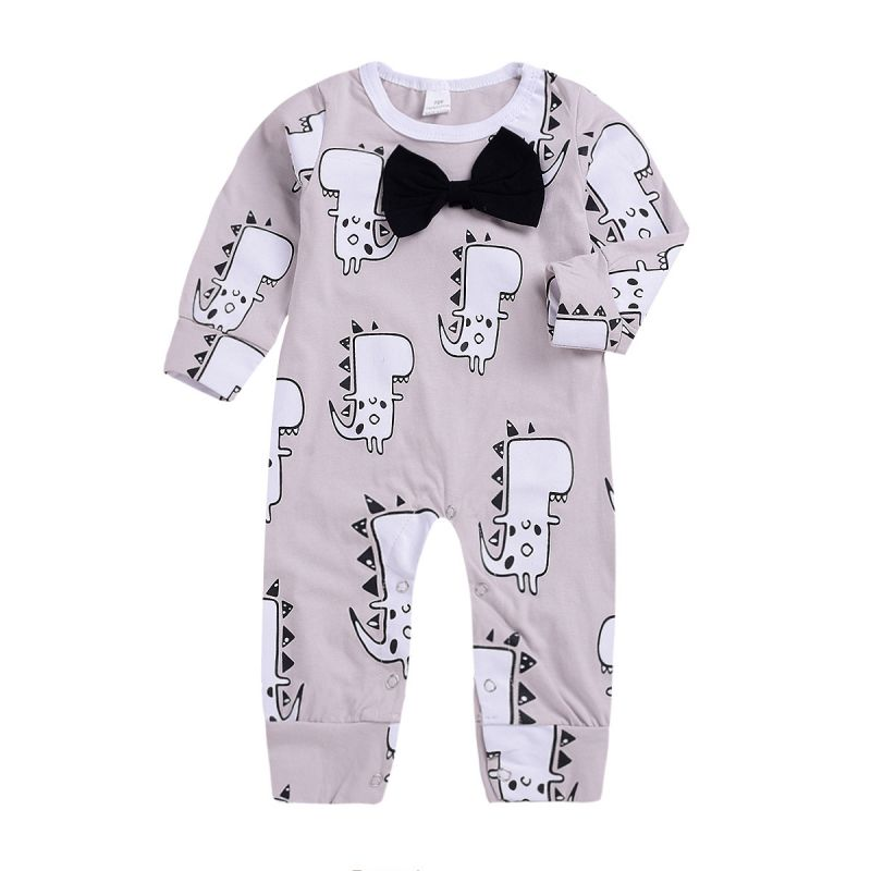 Bow Tie Cartoon Dinosaur Baby Romper Infant Spring Overalls