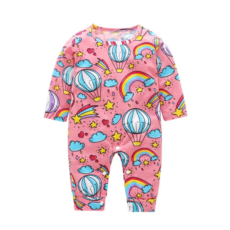 Hot Air Balloon Rainbow Baby Romper Spring Infant Overalls