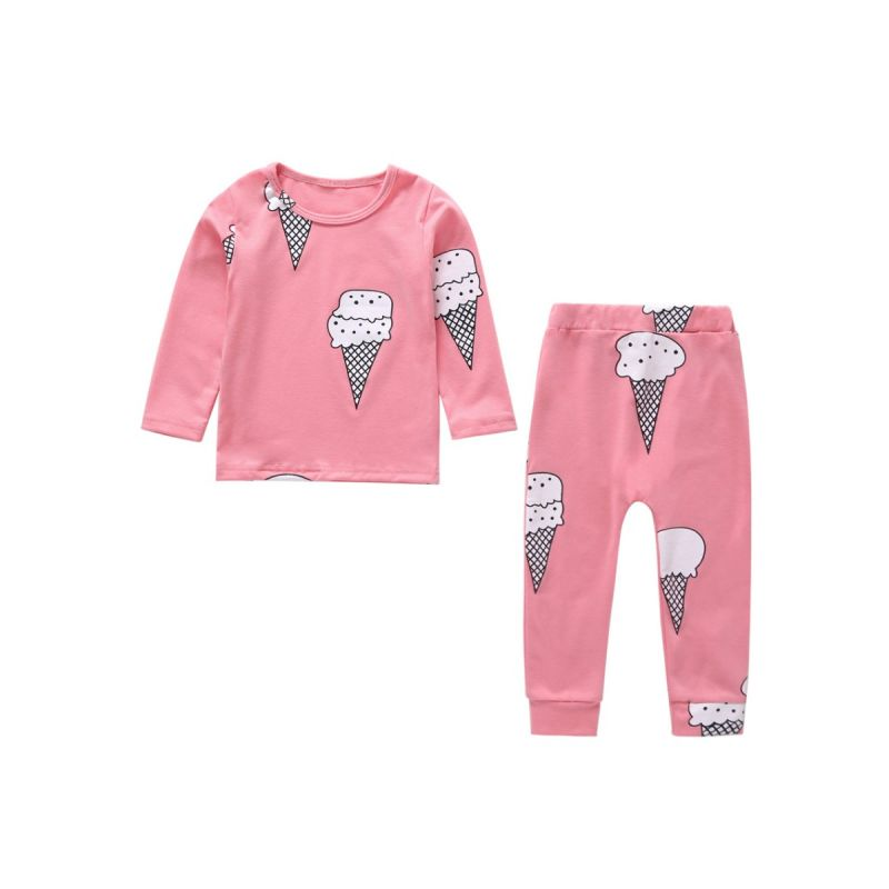 2-Piece Ice Cream Baby Girl Spring Homewear Pajamas Outfits Set T-shirt+Pants