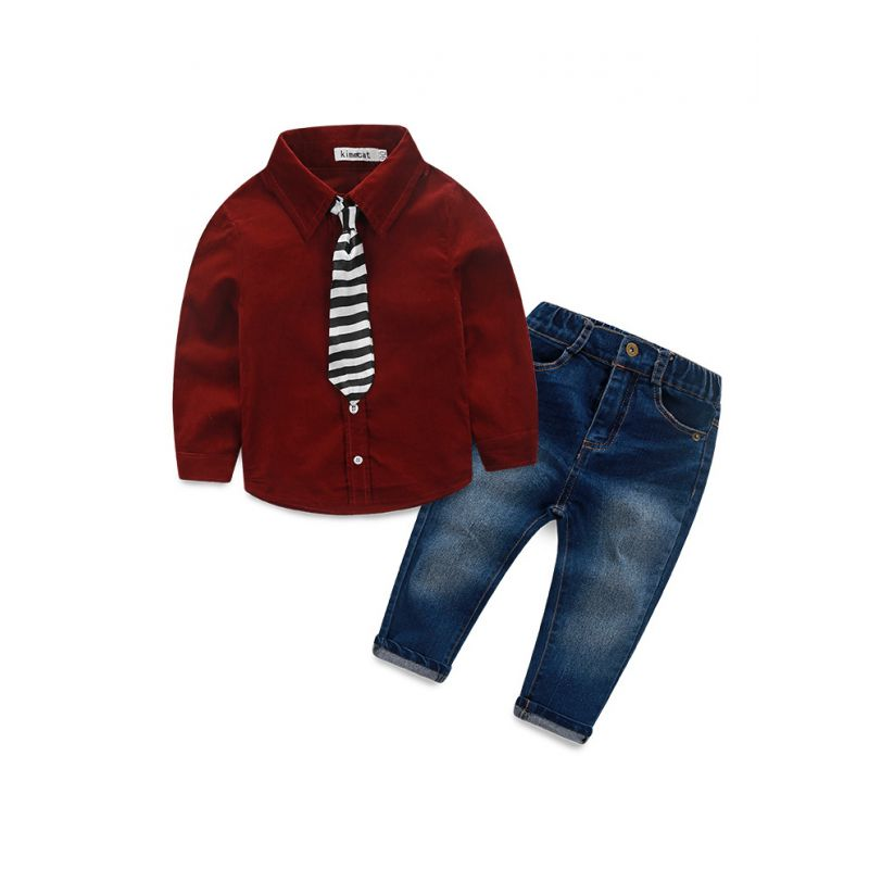 3- Piece Little School Boys Spring Casual Clothes Outfits Set Solid Color Corduroy Shirt+Jeans+Striped Tie