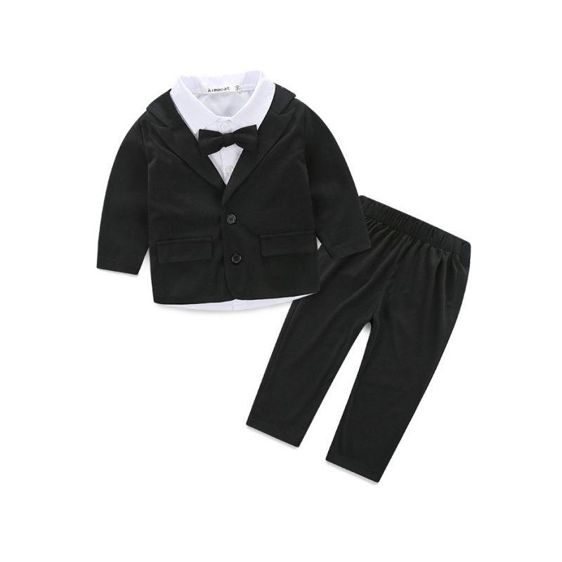 3-piece Spring Baby Boys Suits White Shirt with Bowtie+Black Suit Jacket+Trousers