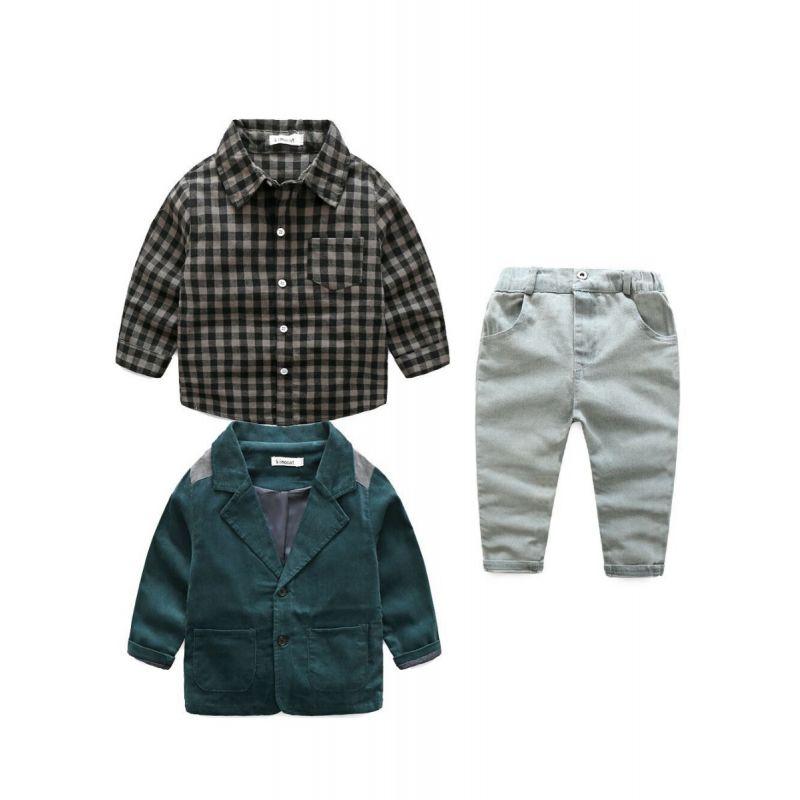 3-piece Spring Little Big School Boys Casual Suits Outfits Set Plaid Shirt+Corduroy Suit Jacket+Denim Pants