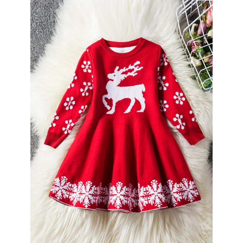 Toddler Big Girl Reindeer Snowflake Crochet Christmas Dress Kids Knit Shift Dress