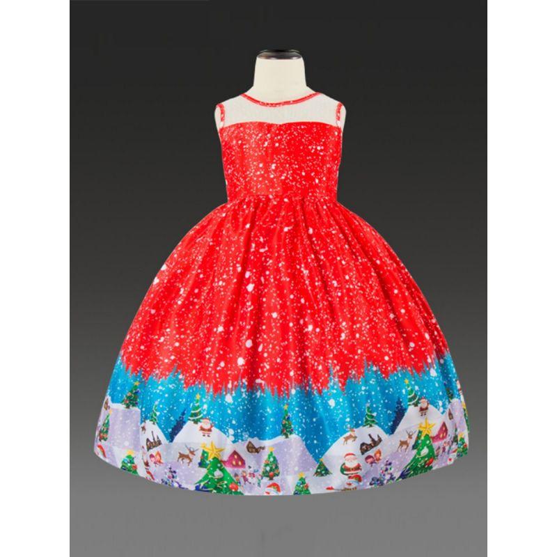 Little Big Girl Santa Christmas Theme Sleeveless Bodice Dress Kids Christmas Party Dress