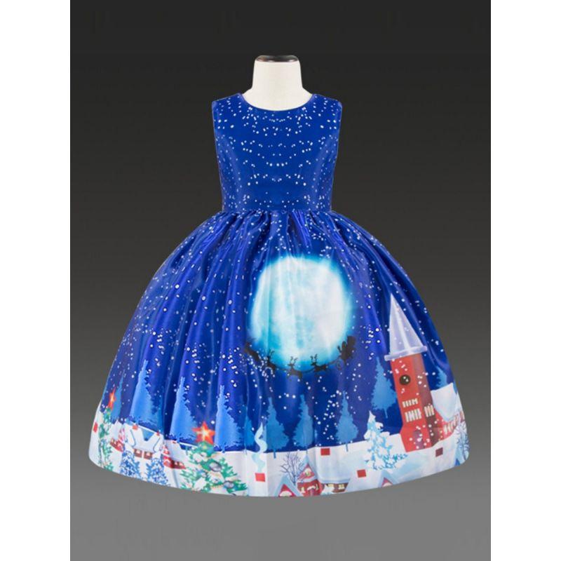 Christmas Theme Little Big Girl Sleeveless Party Bodice Dress Xmas Costume