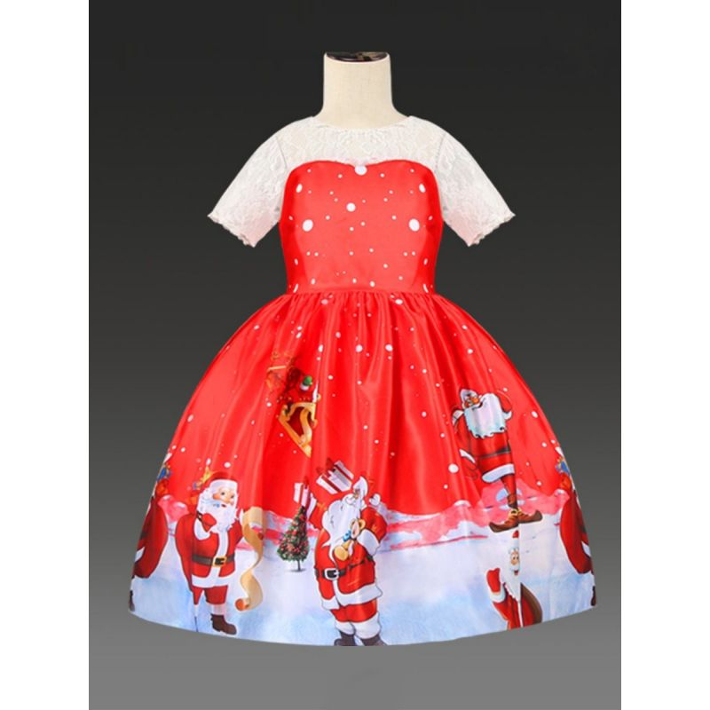 Santa Christmas Theme Costume Dress Toddler Big Girl Christmas Party Bodice Dress Short Sleeve