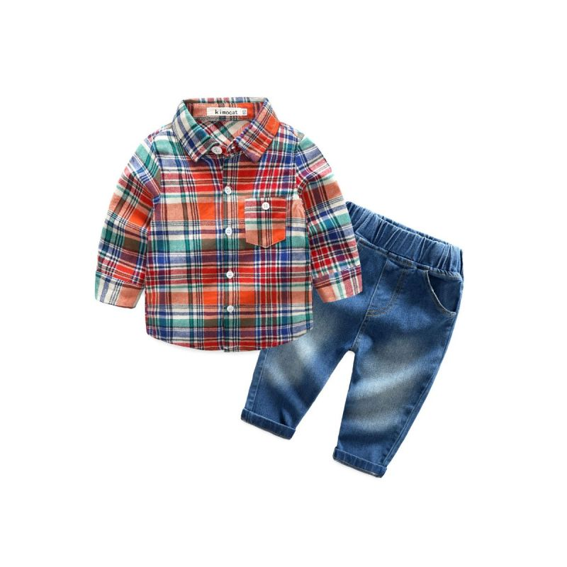 2-piece Baby Boy Spring Casual Clothes Outfits Set Checked Shirt+Jeans
