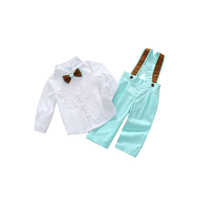 2-piece Baby Little Boys Spring Clothes Outfits Set White Shirt with Bow Tie+Overalls