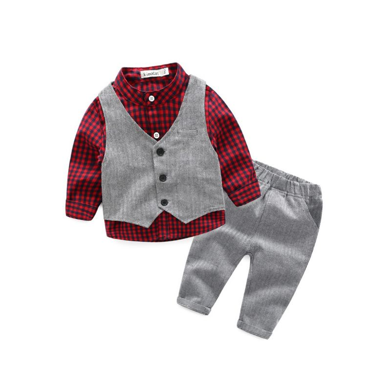 3-piece Spring Baby Boy Suit Plaid Shirt+ Waistcoat+Trousers