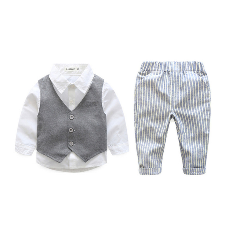 3-Piece Baby Little Boy Spring Suit White Shirt+Waistcoat+Striped Trousers