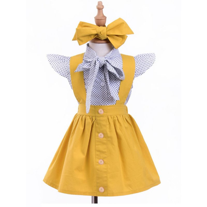 3-piece Infant Little Girl Summer Dress Outfits Set Flutter Sleeve Polka Dots Big Bow Shirt+Yellow Pinafore Dress +Headband