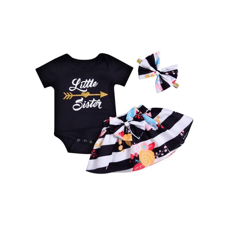 3-piece Newborn Baby Girl Summer Clothes Outfits Set Little Sister Romper+Big Bow Flower Skirt+Headband