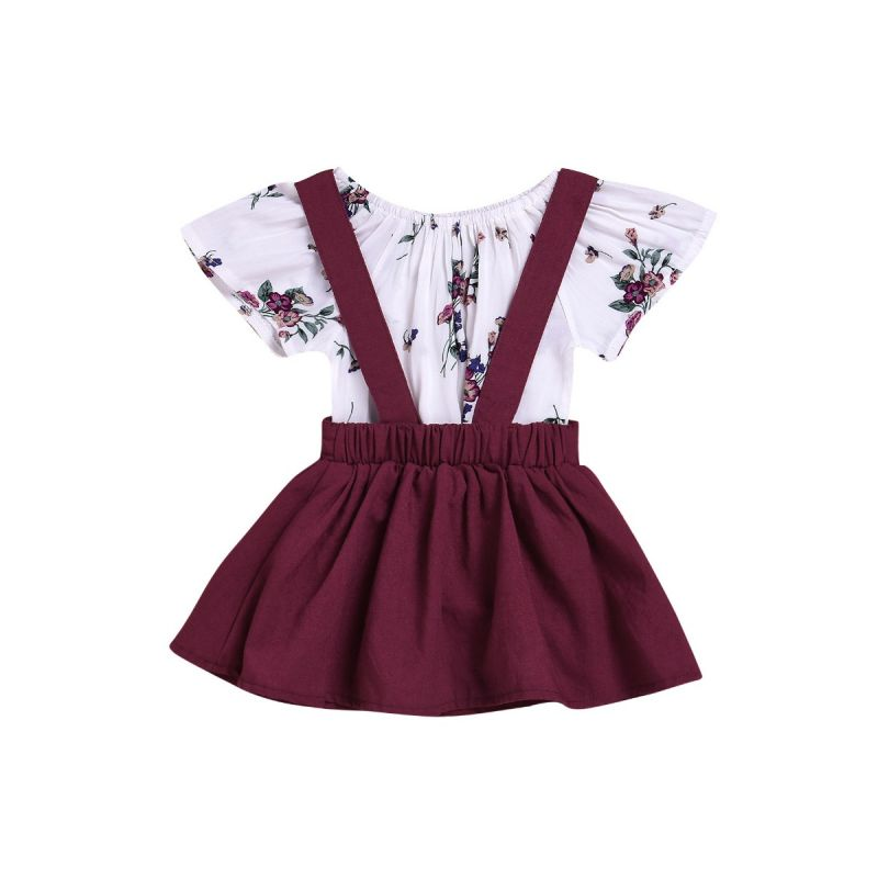 2-piece Newborn Infant Girl Summer Dresses Set Floral Onesie +Wine Red Jumper Skirt