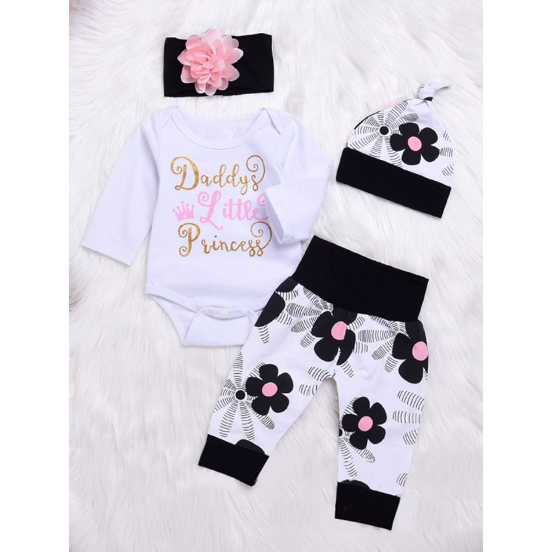 4-piece Infant Girl Spring Casaul Clothes Outfits Set Daddy's Little Princess Bodysuit+Floral Pants+Flower Hat+Headband