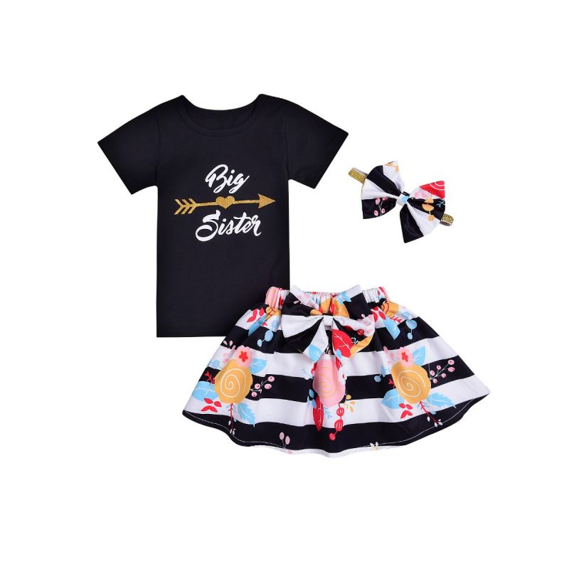3-piece Baby Little Girl Summer Clothes Outfits Set Big Sister T-shirt +Big Bow Flower Skirt+Headband