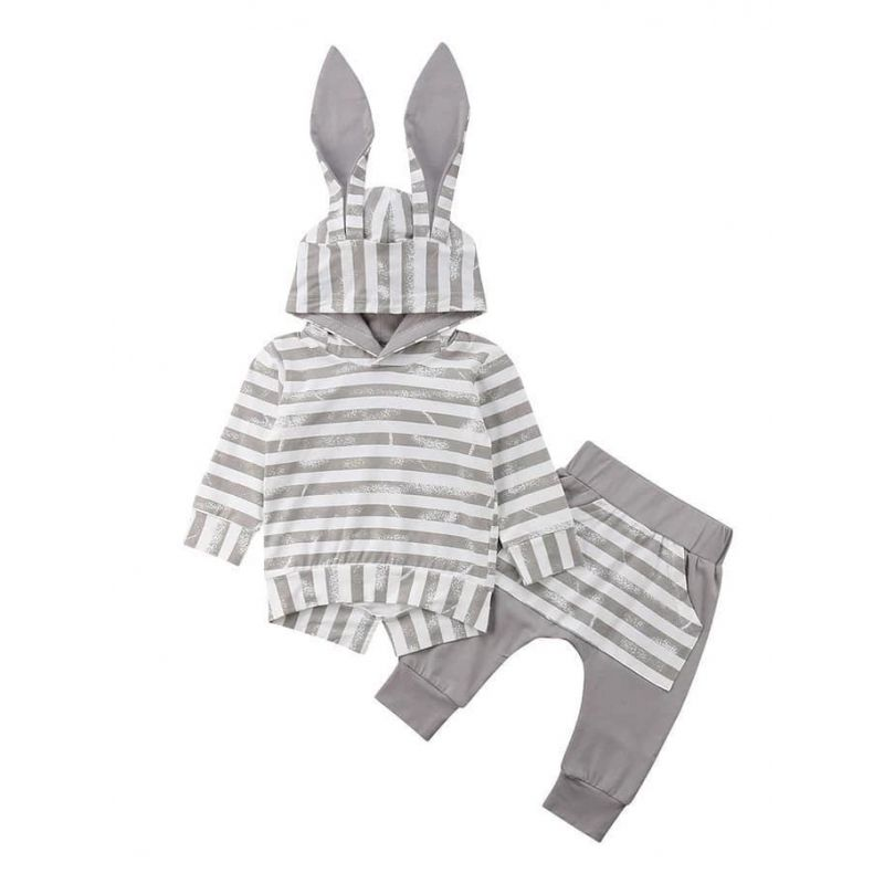 2-piece Bunny Ear Style Baby Clothes Outfits Set Striped Hoodie+Pants