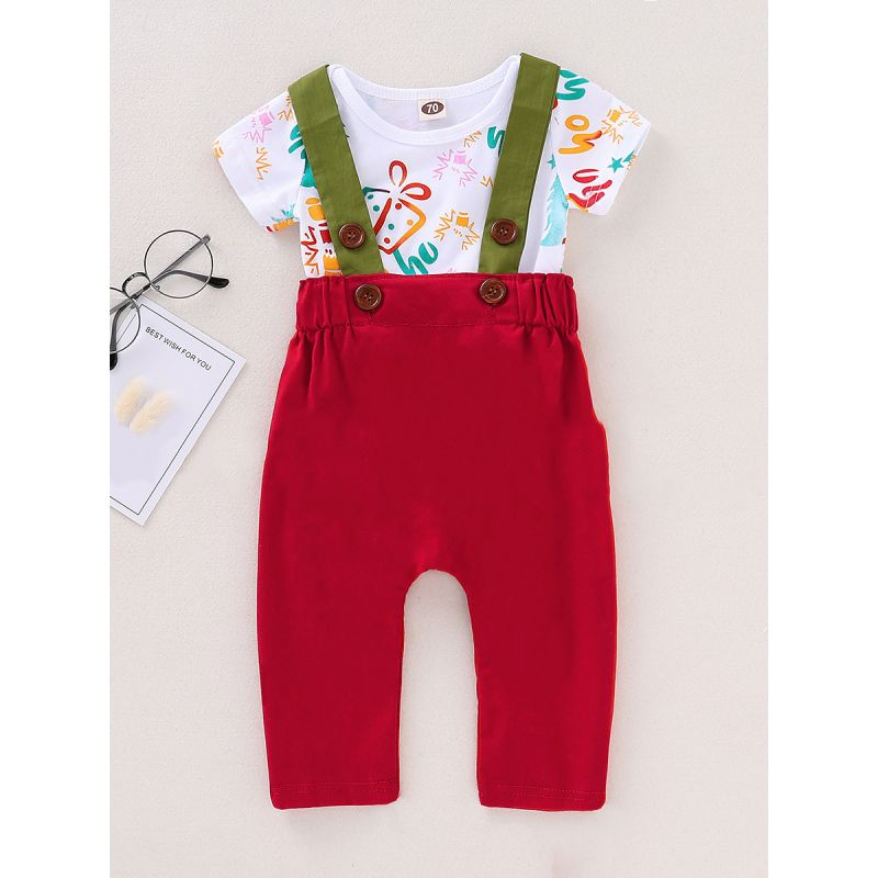 2-piece Baby Girl Christmas Clothes Outfits Set Christmas Tree Gift Box Romper+Suspender Pants