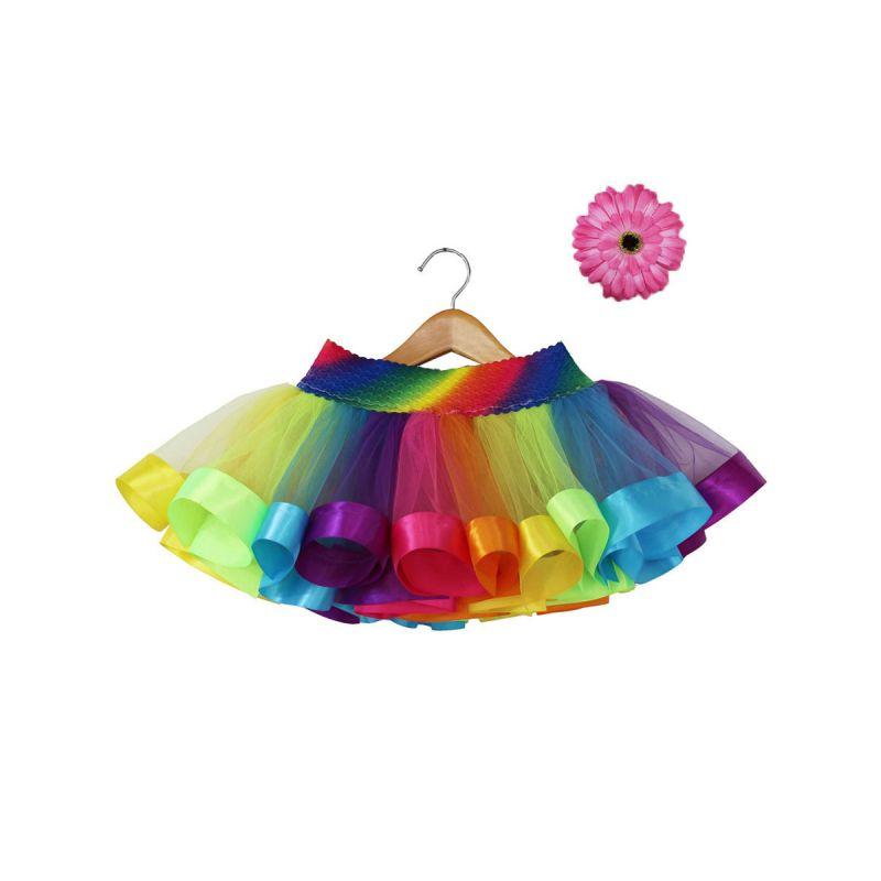 Rainbow Color Toddler Big Girl Tutu Skirt