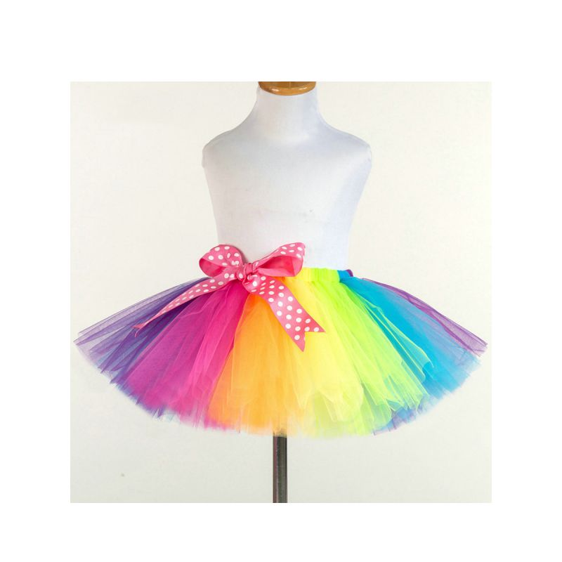 Big Bow Rainbow Color Toddler Big Girl Tutu Skirt