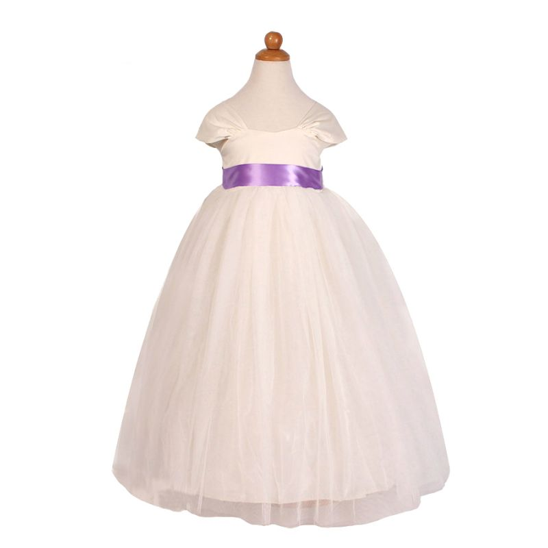 Cap Sleeve Flower Girl Fit & Flare Princess Bodice Dress Toddler Junior Party Tulle  Frock