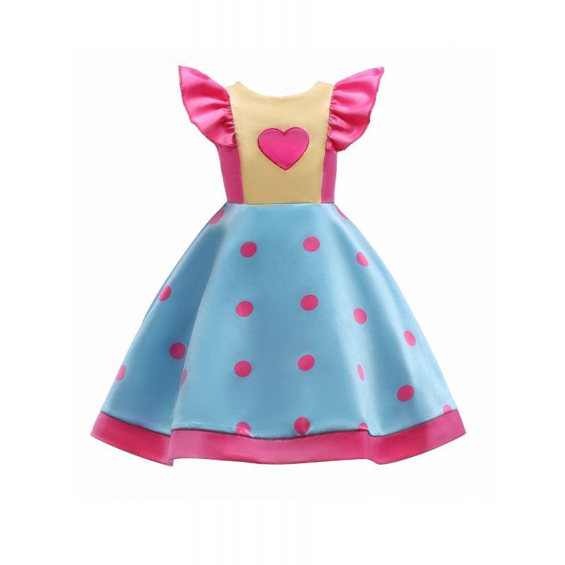 Stylish Toddler Big Girl Flutter Sleeve Polka Dots Bow Princess Summer Bodice Dress