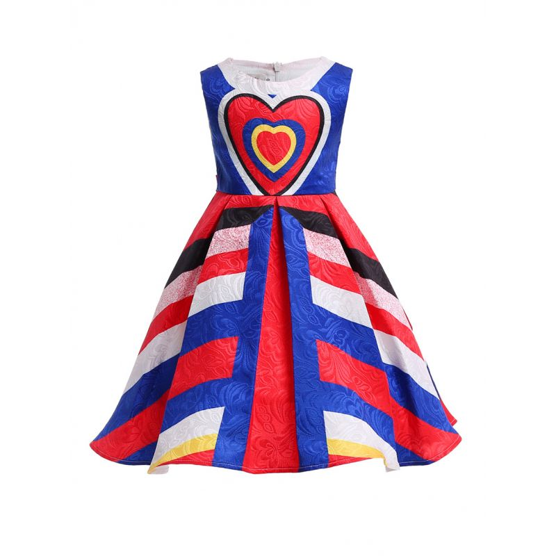 Chic Love Heart Color Blocking Toddler Big Girl Summer Sleeveless Party Bodice Dress