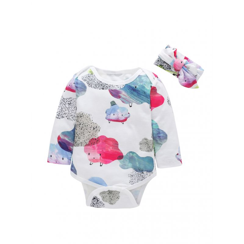 Cute Cartoon Cloud Baby Girl Spring Romper with Headband