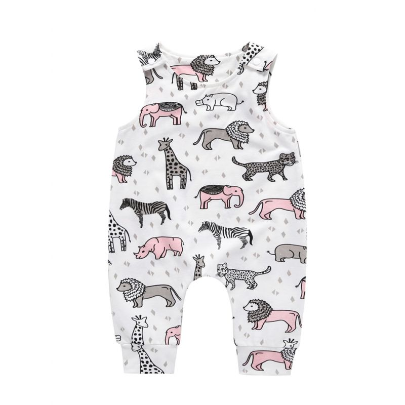 Cute Cartoon Animal Baby Sleeveless Summer Romper Jumpsuit