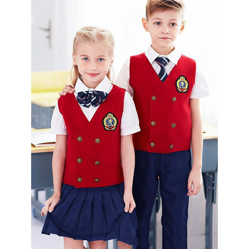3-piece British Style Kindergarten/Primary School/Junior High School Boys Girls Spring Summer School Uniform Set
