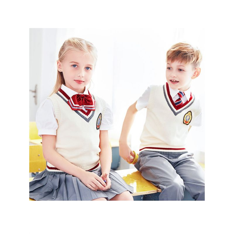 3-piece British Sytle Kindergarten/Primary School/Junior High School Boys Girls Spring Summer School Uniform Set