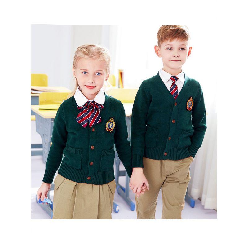 3-piece British Sytle Kindergarten/Primary School/Junior High School Boys Girls Winter School Uniform Set