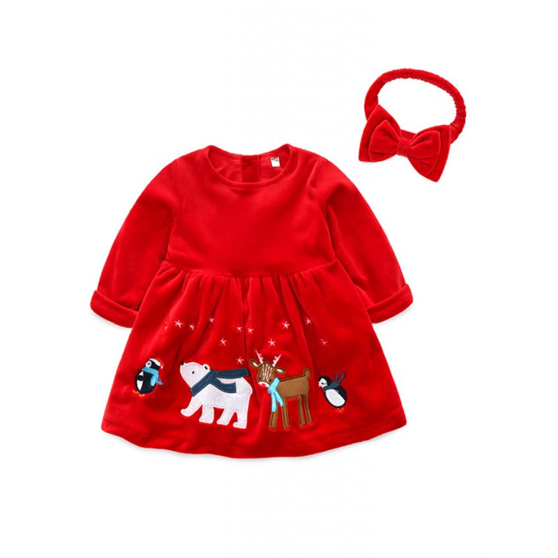 Fancy Baby Little Girl Christmas Theme Velvet Shift Dress with Red Bowknot Headband