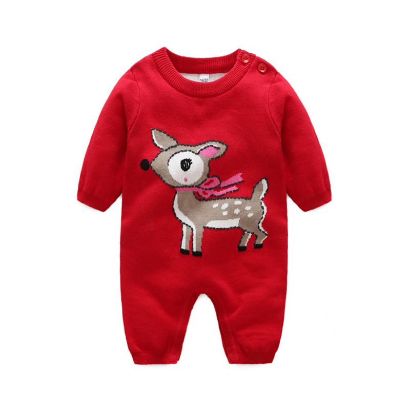 Christmas Deer Crochet Newborn Infant Boys Girls Christmas Romper Winter Knit Overalls