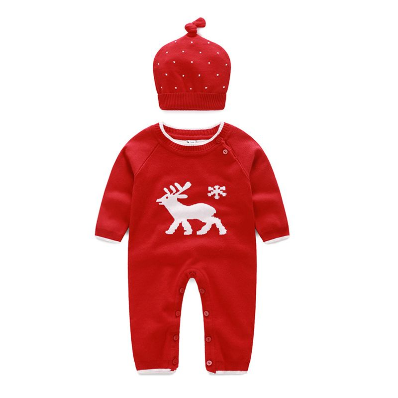 Elk Knitted Newborn Unisex Baby Christmas Overalls with Knit Hat