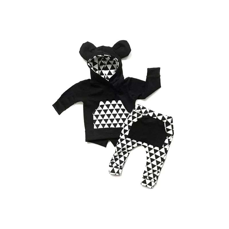 2-piece Baby Spring Clothes Outfits Set Ear Hoodie with Kangaroo Pocket+ Black & White Triangle Pants