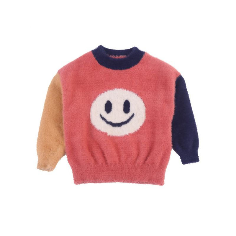 Big Smile Color-blocking Little Big Girl Sweater Spring Knit Pullover