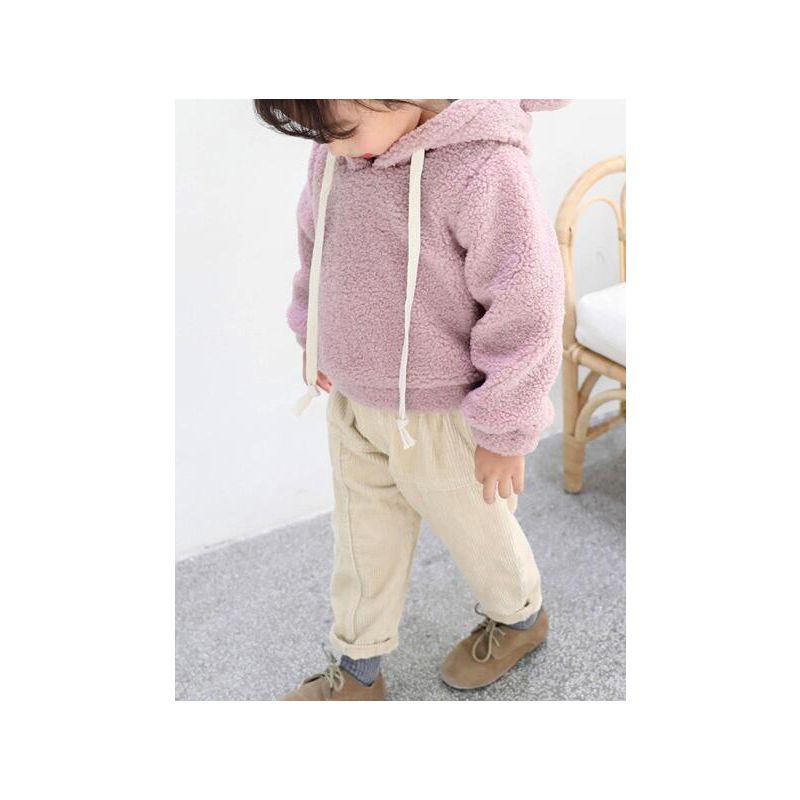 Cute Toddler Big Girl Fleece-lined Ear Hoodie Jumper Thick Sweatshirt