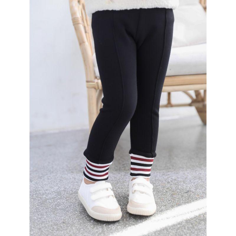 Striped Baby Toddler Big Girl Fleece-lined Winter Leggings Pants