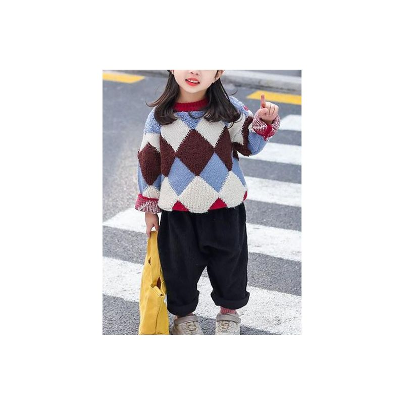 Rhombus Color-blocking Thick Baby Little Big Girl Sweater Knit Pullover