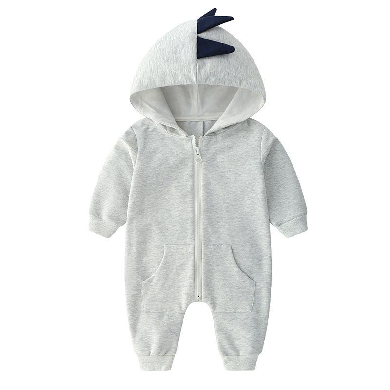 Cute Dinosaur Style Newborn Baby Hoodie Jumpsuit Spring Autumn Zip Overalls