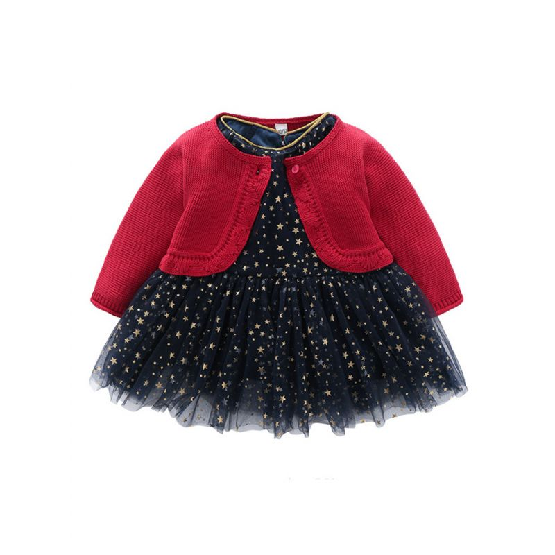 2-piece Baby Little Girl Dress Outfits Set Red Knitted Cardigan+Shiny Stars Tulle Dress