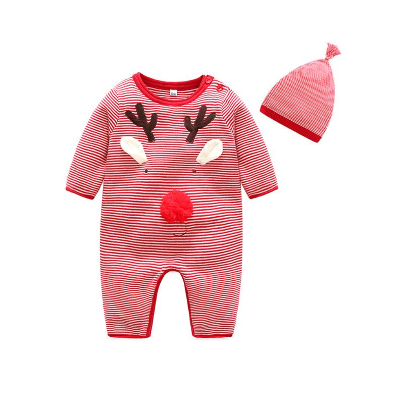 Deer Style Newborn Baby Christmas Overalls Knit Jumpsuit with Hat