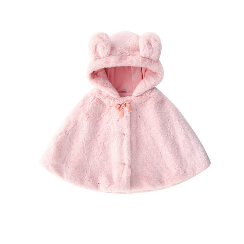 Adorable Ear Winter Baby Little Girl Pink Poncho Outwear