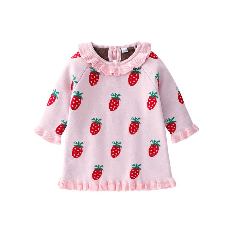Cute Ruffled Collar Strawberry/Love Heart Spring Baby Little Girl Knit Shift Dress